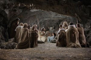 A reverent scene from the movie The Nativity Story